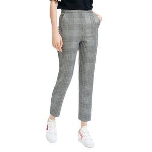 Maje Plino Check Straight Plaid Gray Crop Pants